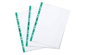 PUNCHED POCKETS A4 DURABLE GREEN SPINE